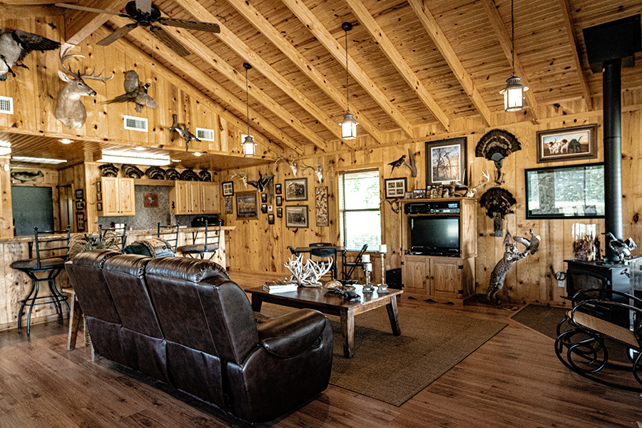 living room of main house at clear lake flats ranch