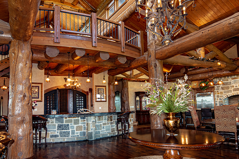 interior of main house living room at sugar ridge ranch